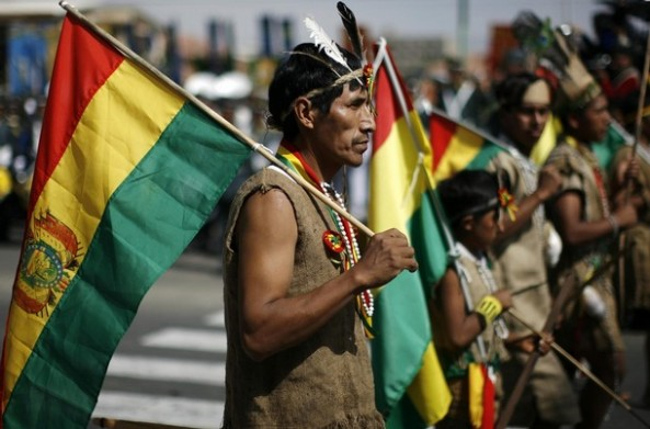 Bolivian Indians take part in a parade to mark the anniversary of Bolivia's founding in Cochabamba
