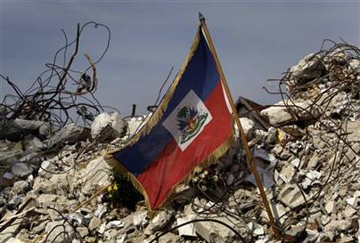 Haitian National Flag Barely Surviving in the Rubble
